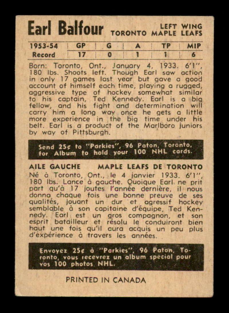 1954-Parkhurst-25-Earl-Balfour-RC-Select-a-Grade-Free-Ship