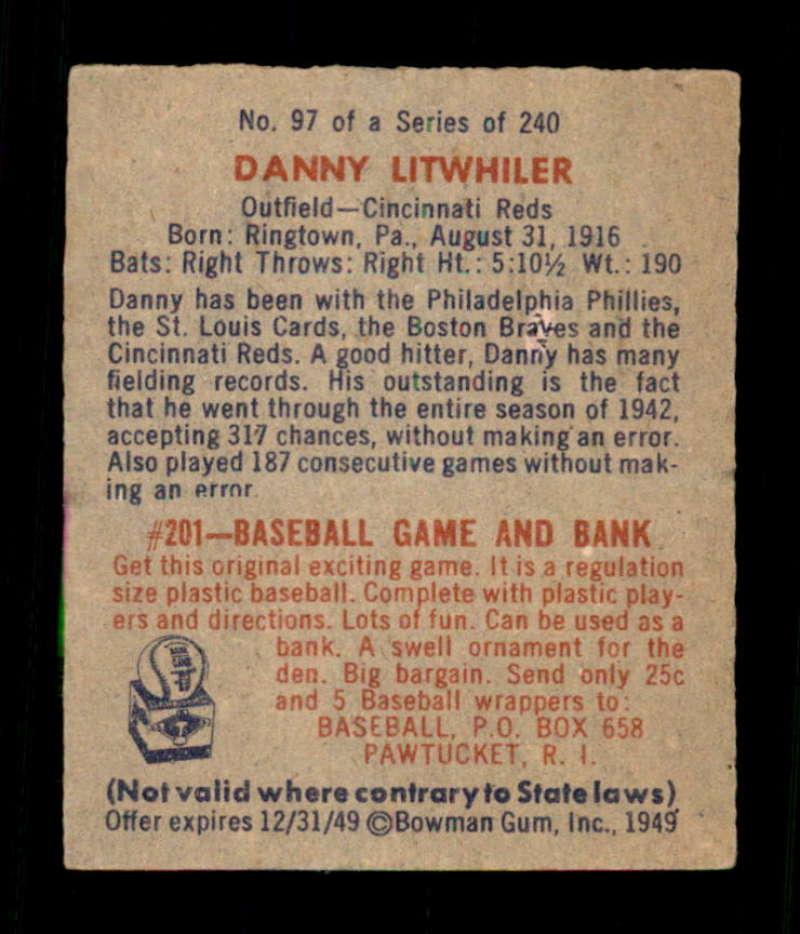 1949-Bowman-97-Danny-Litwhiler-RC-Cincinnati-Reds-Select-A-Grade-Free-Shipping