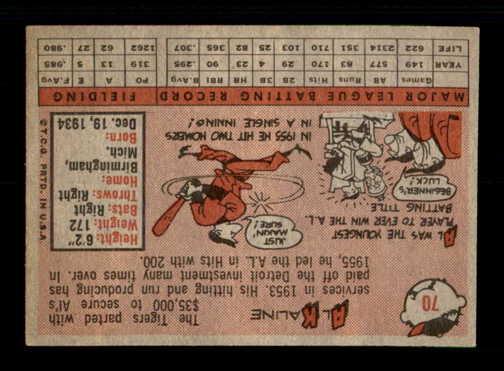 1958-Topps-70-Al-Kaline-Detroit-Tigers-Select-A-Grade-Free-Shipping