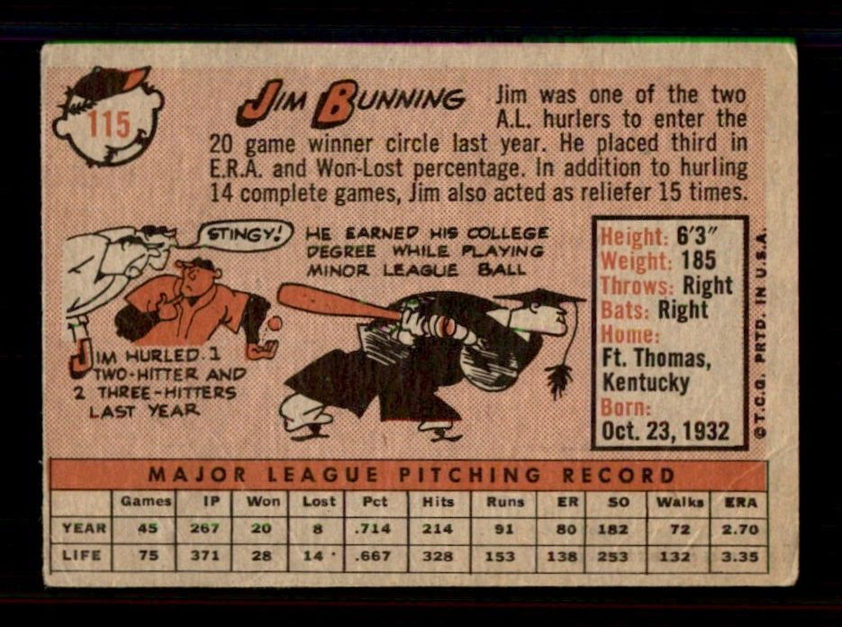 1958-Topps-115-Jim-Bunning-Detroit-Tigers-Select-A-Grade-Free-Shipping